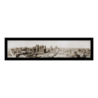 Foto 1920 del horizonte de Dallas TX Póster
