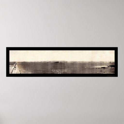 Foto 1924 de Panamá de la flota de la marina de gu Póster