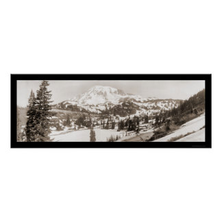 Foto 1925 de la nieve del Monte Rainier WA Póster
