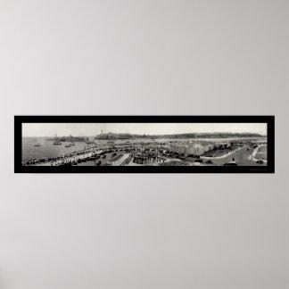 Foto 1929 del puerto de La Habana del buque de gue Póster