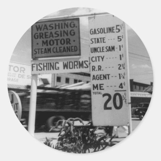Foto 1938 del análisis de precio de la gasolinera pegatina redonda