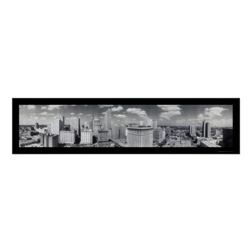Foto 1949 de Houston TX del horizonte Póster