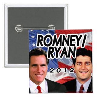 Foto 2012 de Romney Ryan/botón de la bandera Pin Cuadrada 5 Cm