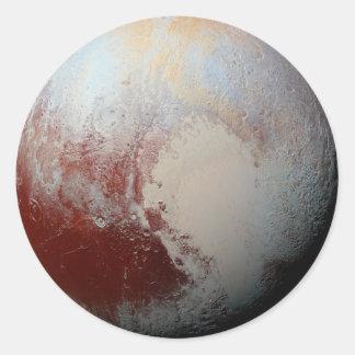 Foto 2015 del planeta Plutón por New Horizons de Pegatina Redonda