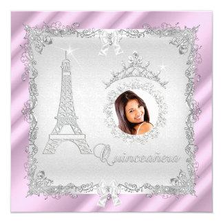 """Foto 2 de princesa Quinceanera Magical Pink Silver Invitación 5.25"""" X 5.25"""""""