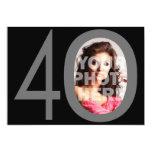 Foto 40 grandes negros/invitaciones grises de la anuncio personalizado