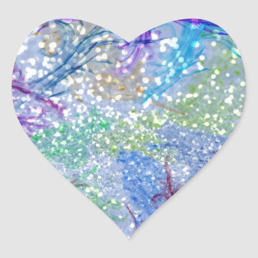 Foto abstracta azul P del brillo de la acuarela Pegatina En Forma De Corazón