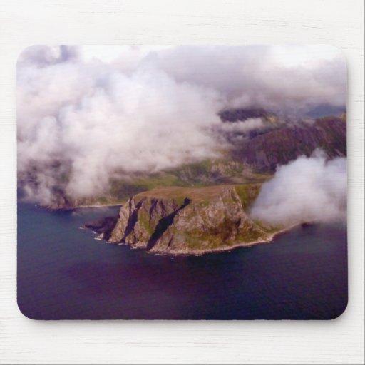 Foto aérea de los fiordos en Noruega Alfombrillas De Ratones