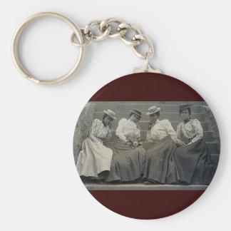 Foto afroamericana antigua de las mujeres llavero redondo tipo pin