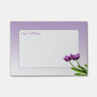 Foto aislada floral de la primavera gemela púrpura notas post-it®