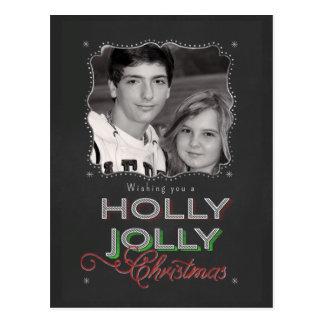 Foto alegre del navidad del acebo de la pizarra tarjetas postales