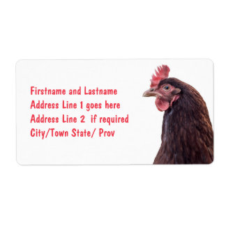 Foto alta del perfil de la gallina roja de la capa etiqueta de envío