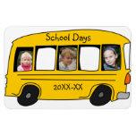 Foto amarilla del autobús escolar de los días esco imán de vinilo