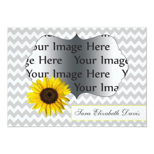 foto amarilla gris de la graduación del girasol invitación 12,7 x 17,8 cm