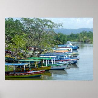 Foto amarrada colorida de Negril Jamaica de los Impresiones