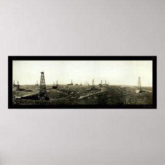 Foto americana 1910 del Co. del petróleo crudo Póster