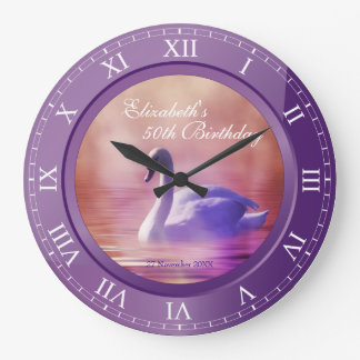Foto Amethyst púrpura del cisne blanco elegante de Reloj Redondo Grande