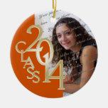 Foto anaranjada 2014 de la graduación de la clase adorno de navidad