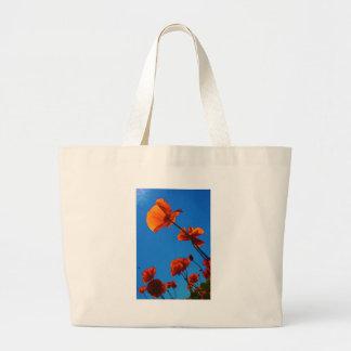 Foto anaranjada de la amapola bolsa tela grande