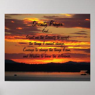 Foto anaranjada de la puesta del sol del rezo de póster
