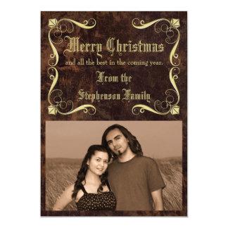 Foto antigua del navidad de la Cuero-mirada del Invitación 12,7 X 17,8 Cm