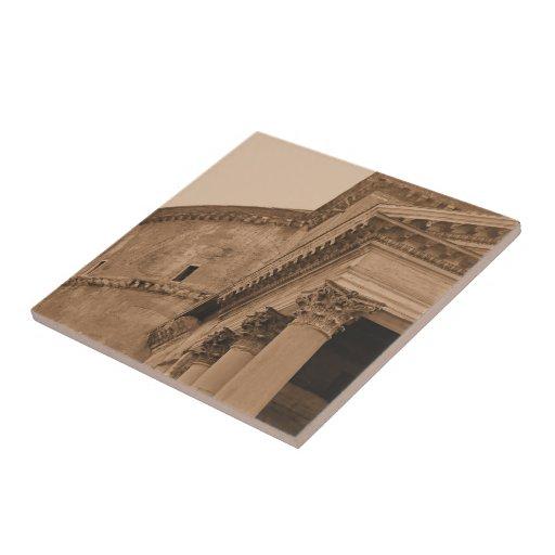 Foto arquitectónica del panteón antiguo de Roma It Azulejo Cuadrado Pequeño