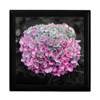 Foto ascendente cercana de la flor caja de joyas