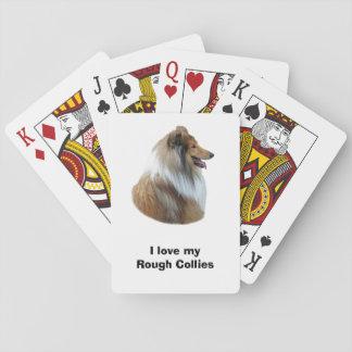 Foto áspera del retrato del perro del collie barajas de cartas