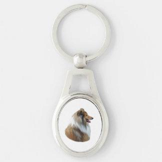 Foto áspera del retrato del perro del collie llaveros