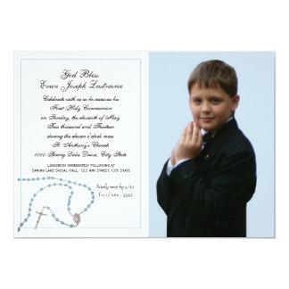 Foto azul de la comunión del rosario invitación 12,7 x 17,8 cm