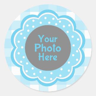 Foto azul de la guinga del bebé pegatina redonda