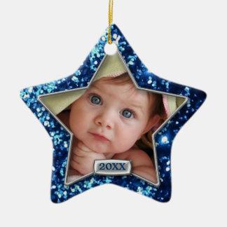Foto azul/de plata de la estrella de la chispa ornaments para arbol de navidad