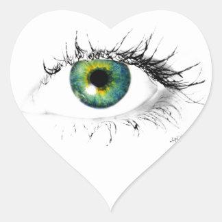 foto azul única del ojo verde colcomanias corazon personalizadas