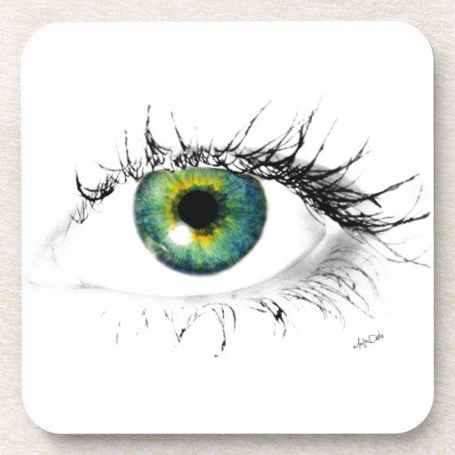 foto azul única del ojo verde posavaso