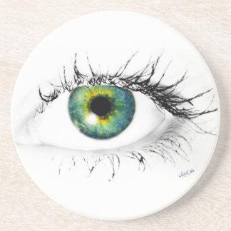 foto azul única del ojo verde posavasos cerveza