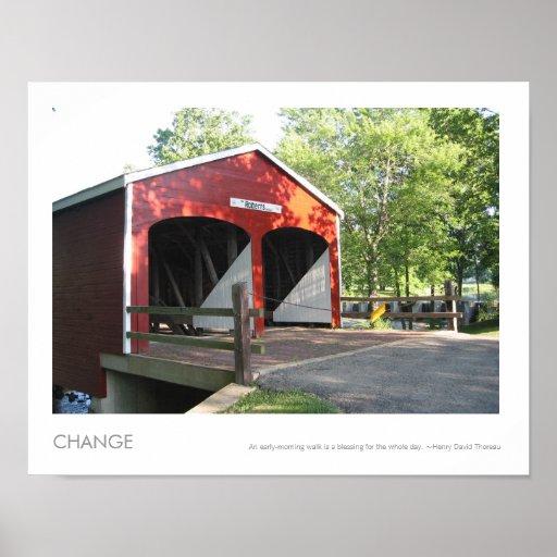 Foto Barreled doble del puente cubierto de Roberts Póster