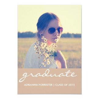 Foto beige elegante de la fiesta de graduación el invitación 12,7 x 17,8 cm