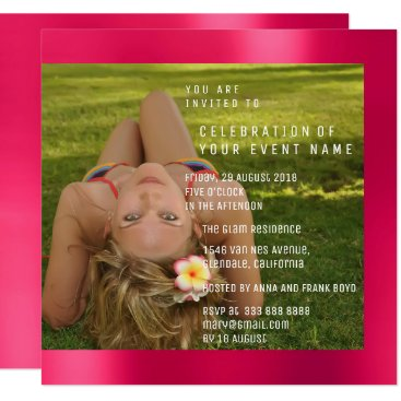 Beach Themed Foto Birthday Party Pink Rose Copper  Metallic Card