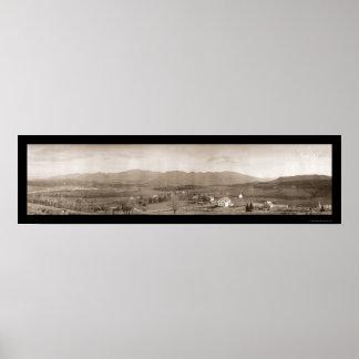 Foto blanca 1912 del NH de las montañas Póster