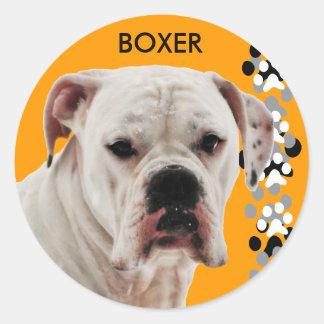 Foto blanca del boxeador pegatina redonda