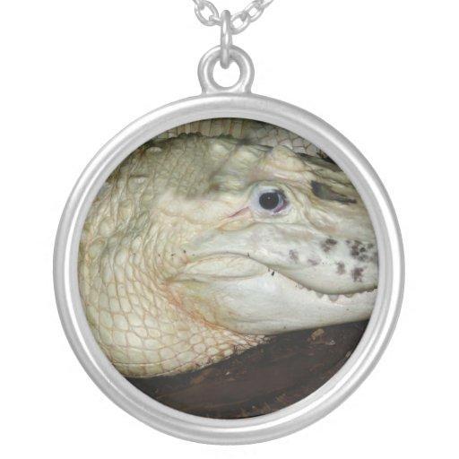 Foto blanca del cocodrilo del albino, imagen del c pendiente personalizado