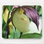 Foto blanca Mousepad de la flor de señora deslizad
