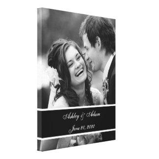 Foto blanca negra del boda personalizada lona envuelta para galerías