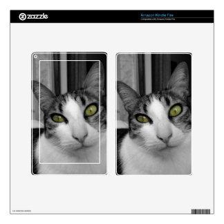 Foto blanca negra del gato kindle fire pegatina skin