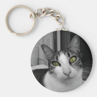 Foto blanca negra del gato llavero redondo tipo pin