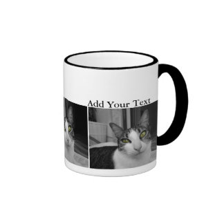Foto blanca negra del gato taza de dos colores
