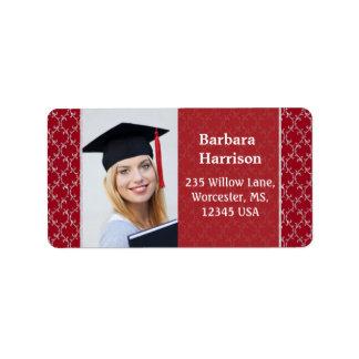 Foto blanca roja de la graduación del damasco etiquetas de dirección