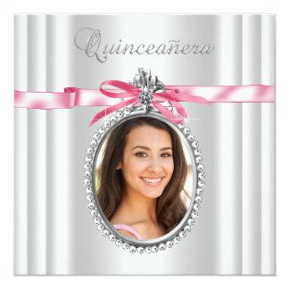 Foto blanca rosada Quinceanera Invitación 13,3 Cm X 13,3cm