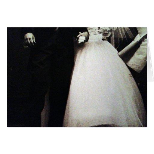FOTO BLANCO Y NEGRO DE BRIDE/GROOM PARA CASARSE TARJETA DE FELICITACIÓN
