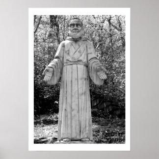 Foto blanco y negro de la bella arte del St Pio Impresiones